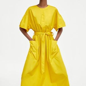 Zara midi mustard belted shirt dress